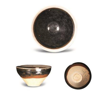 南宋吉州窑黑褐釉白边深腹茶盏