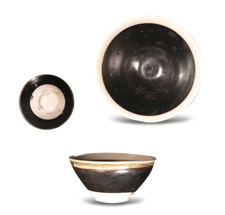北宋黑釉灰白边茶盏