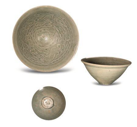 北宋耀州窑模印鱼龙纹茶盏