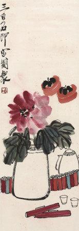 齐白石花卉炮竹