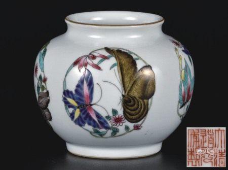 粉彩团蝶纹罐
