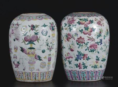 粉彩花卉茶叶罐  一组2件