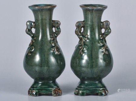 石湾  绿釉花瓶  一对