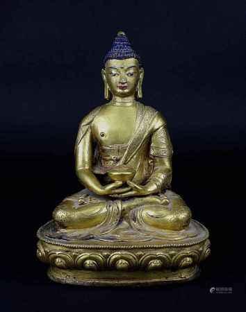 Buddha auf Lotusthron, Siam 19. Jh, sitzend in meditierender Haltung, in der Hand ein Deckelgefäß