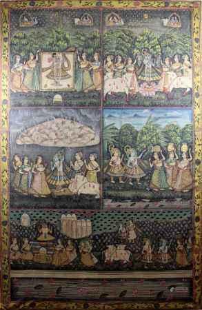 Großes Bild mit Szenen aus dem Leben Krishnas angeordnet in 5 Feldern, Indien um 1900, Tempera auf