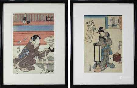 Kunisada Utagawa (Toyokuni III, 1786-1865 Edo), 2 Farbholzschnitte, Dame im Interieur mit