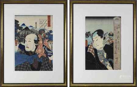 Toyokuni III (Utagawa Kunisada, 1786-1865), 2 Farbholzschnitte: Ichikawa Kodanji als Affentrainer,