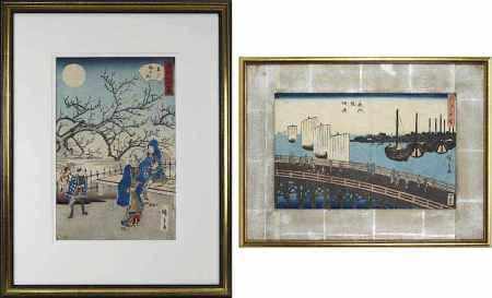 Utagawa Hiroshige (1797-1858), 2 Farbholzschnitte: Mond im Pflaumengarten in Kameido, 1862,