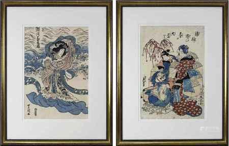 Toyokuni III und Ikeda Eisen, 2 Farbholzschnitte: Toyokuni III (Kunisada, 1786-1864), Windgöttin