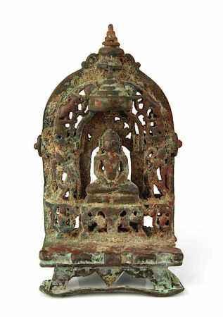 Jain-Altar, Rajasthan/Indien, 15./16.Jh., Bronze, Tirthankara in meditierender Haltung im
