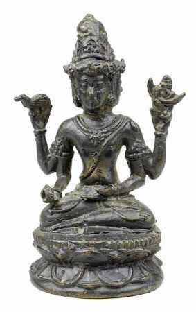 Buddha aus Bronze, Südostasien um 1920, sitzender Buddha auf Lotusthron in meditierender Haltung,