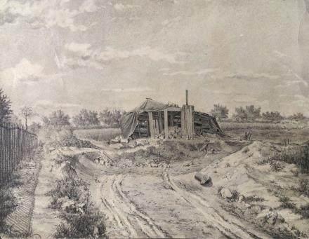 亨利厄內斯特(AD 1845-1900)-破敗的農舍-水墨、紙本-法國-19世紀藝術家