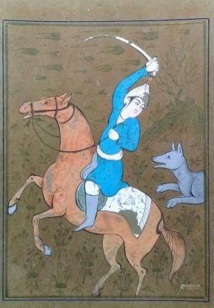 波斯細密畫-狼追逐手持劍的騎士-伊朗-18世紀至19世紀早期