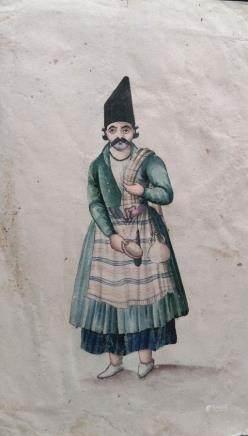波斯細密畫-波斯男人-伊朗-18世紀到19世紀早期