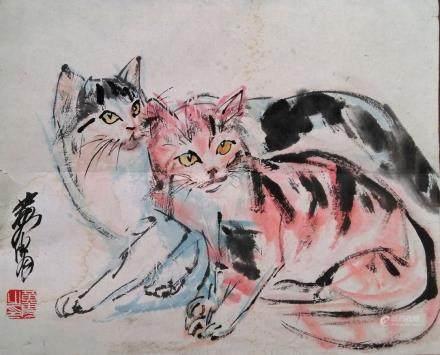 黄胄(AD1925-1997)-兩隻貓-設色紙本、鏡片-20世紀
