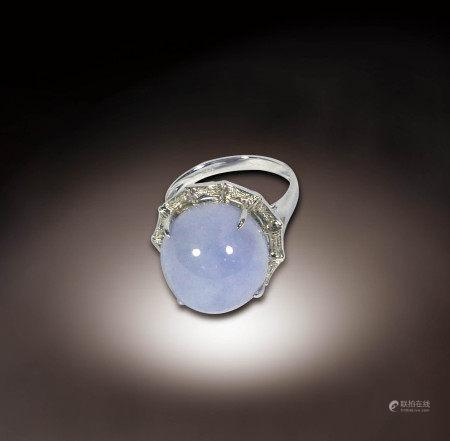 K金鑲鑽紫羅蘭翡翠指環