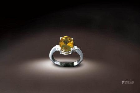 金黃色天然碧璽指環