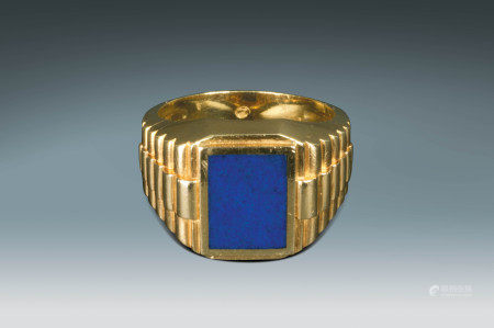 14K黃金鑲鑽嵌方藍青金石指環