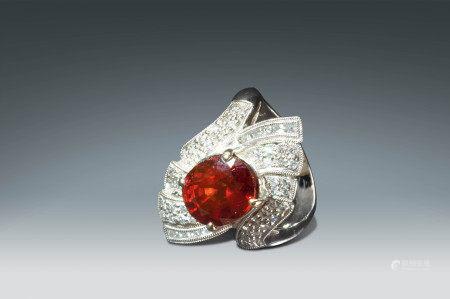 鑲碎鑽嵌錳鋁榴石指環