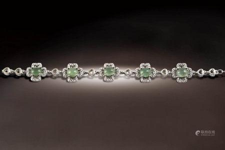 緬甸玻璃種白翡手鍊