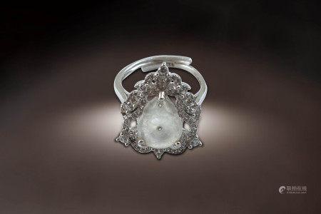 玻璃種白翡指環