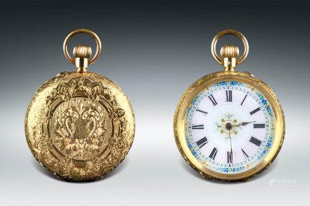 1880年製·瑞士18K金刻花懷錶