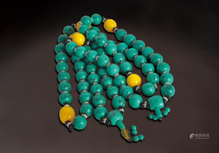 清  綠松石珠串二件