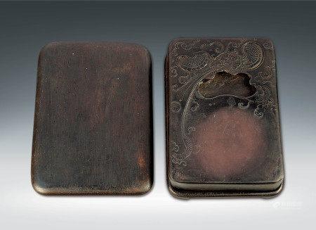 清  麻子坑端石雕騰龍紋硯