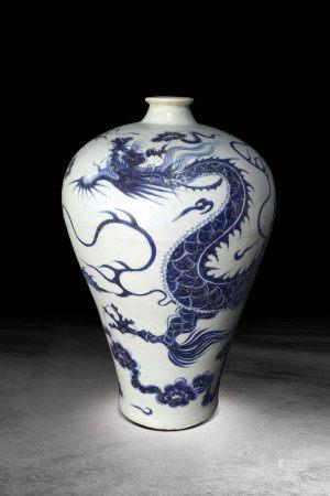 清  青花龍紋梅瓶