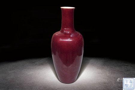 清  霽紅釉觀音瓶