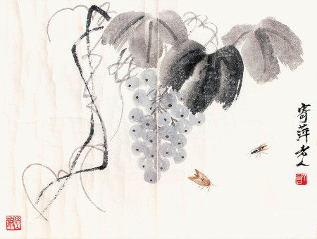 齊白石  葡萄草蟲