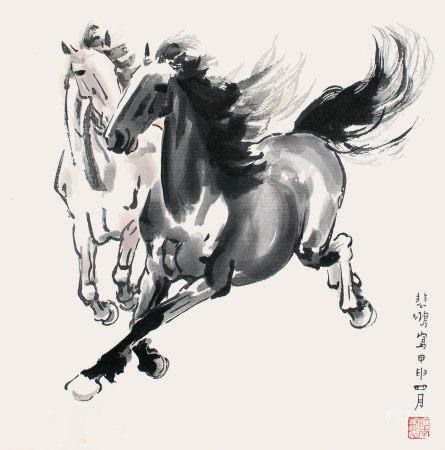 徐悲鴻  雙馬