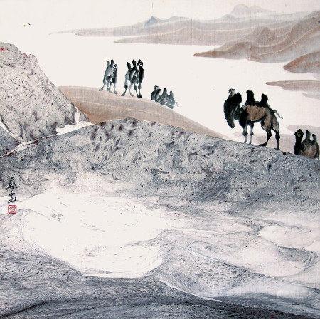 舒春光  大漠駝群