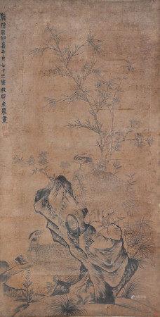 金農  錦雞壽石