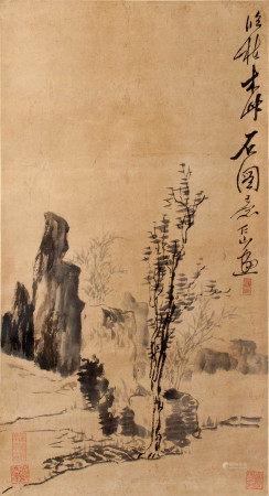 蘇仁山  枯木竹石圖