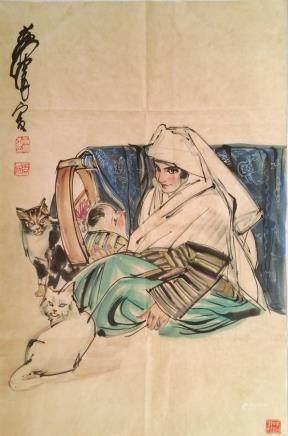 黃胄(AD1925-1997)-母親孩子與貓-設色紙本、鏡片-20世紀後半葉