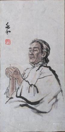 蔣兆和(AD1904-1986 )-穿針線的老人-設色紙本、鏡片-20世紀