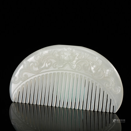 CHINESE WHITE JADE HAIR COMB, QING DYNASTY