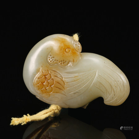 CHINESE WHITE JADE CARVED BIRD, QING DYNASTY