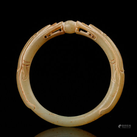 CHINESE WHITE JADE DRAGON BANGLE