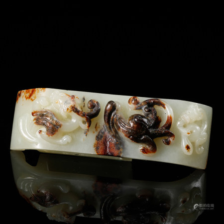 CHINESE WHITE JADE CHILONG SWORD FITTING