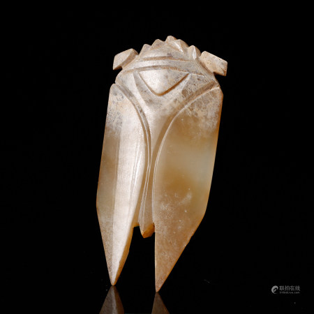 CHINESE WHITE JADE CARVED CICADA