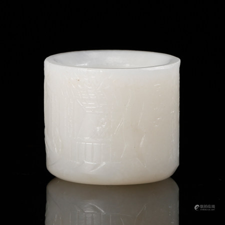 CHINESE WHITE JADE THUMB RING, QING DYNASTY