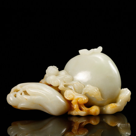 CHINESE WHITE JADE CARVED MELONS, QING DYNASTY