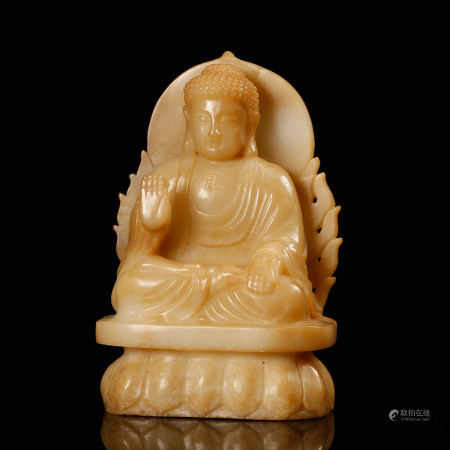 CHINESE JADE CARVED SEATED BUDDHA, QING DYNASTY