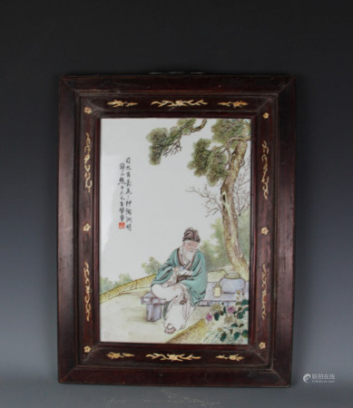 PAINTED FAMILLE ROSE PORCELAIN PLAQUE, QING DYNAST
