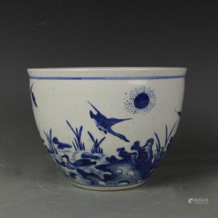 BLUE WHITE PORCELAIN JARDINIERE