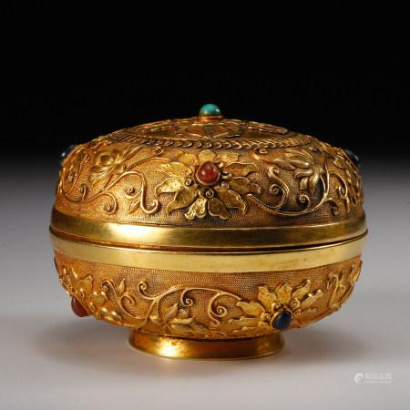 CHINESE GILT BRONZE COVER BOX W. INLAID