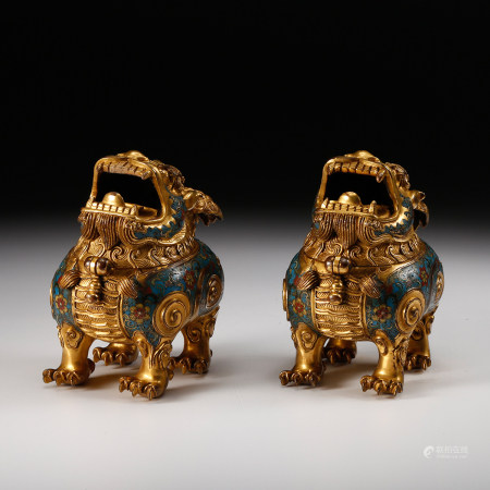 CHINESE GILT BRONZE FOOLION CENSERS, QING DYNASTY