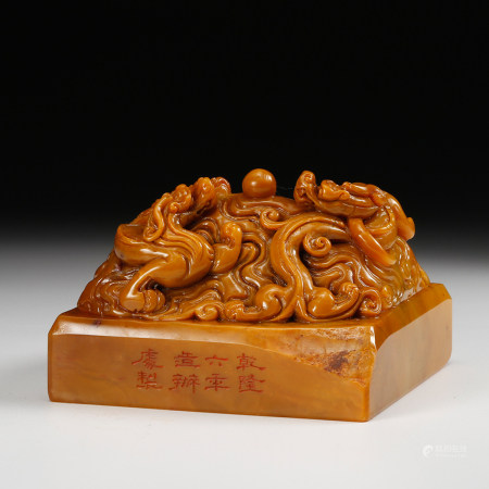 CHINESE TIANHUANG SOAPSTONE SEAL, QING DYNASTY
